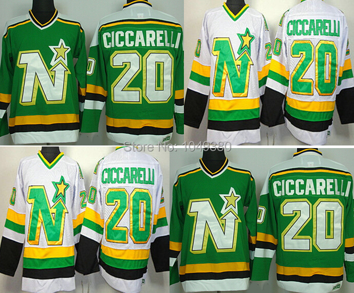 Cheap Dallas Stars 20  Dino Ciccarelli Jersey Green White Color CCM  Throwback Hockey Jerseys M XXXL Free Shipping Mixed Order-in Hockey Jerseys  from Sports ... a5666d5f496