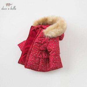 Image 2 - DBM9200 dave bella winter baby meisjes bloemen kapmantel baby gewatteerde jas kinderen hoge kwaliteit jas kinderen gewatteerde bovenkleding