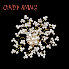 CINDY XIANG New Gypsophila Pearl Flower Brooches for Women Handmade Wedding Snowflake Pins Summer Dress Accessories Bag Brooch