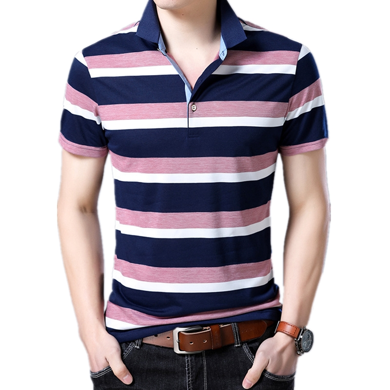 Brand Youth Mens Short Sleeve Camisa Polo Masculina England Striped Men Polo Shirt Turn-down Collar Breathable Polos Para Hombre