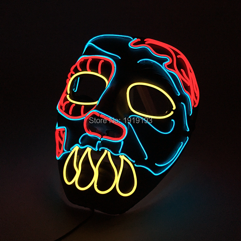 Halloween Led Strip Bucktooth Ghost Mask Opera Face Colorful Costume Fancy Dress Accessory Light Up Rave Mask Fashion Show Props