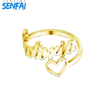 Senfai Custom Heart Name Ring Adjustable Size Stainless Steel Gold Wedding Rings For Women Jewelry Bridesmaid Gifts wholesale 20 pieces mix stainless steel ring jewelry dragon heart statement wedding rings for women men gift
