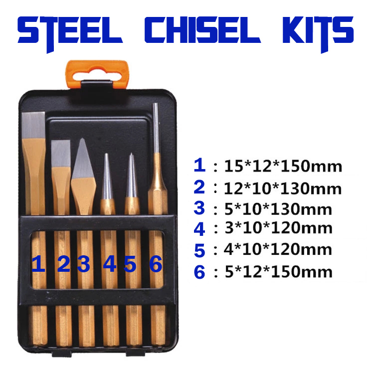 80-106 Steel chisel Set Flat chisel Drill head Cylindrical punch Center punch Masonry chisel  chrome vanadium steel chisel chisel punch 6 piece punching bench chisel combination
