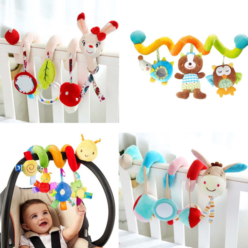 Lovely Cartoon Animal Baby Toy Newborn Educational Sound Colorful Plush Rattle Mobiles Toys Infant Kids Bed Stroller Hanging Toy