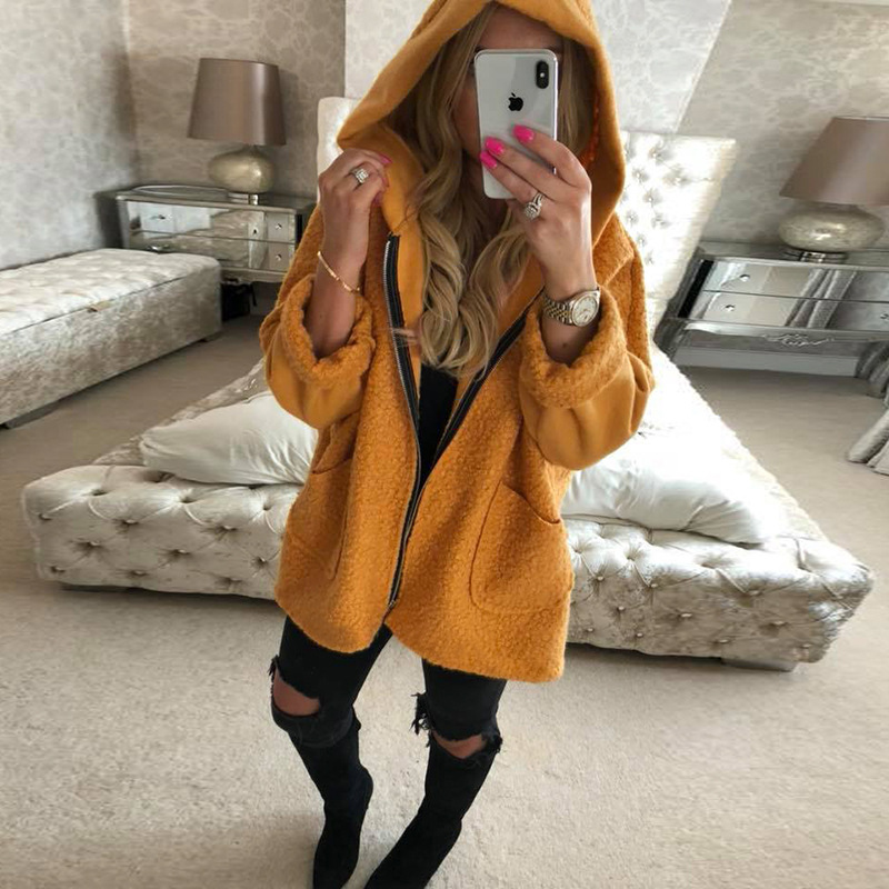 Fashion Autumn   Jacket   Women Soft Hooded Fleece   Jackets   Women Faux Fur   Basic     Jacket   Female Winter Coat Loose Casual Outwear MDR96