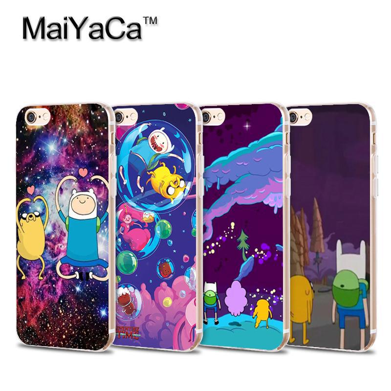 Best friends Adventure time Transparent TPU Soft Cell Phone Protective Cover For iPhone 4s 5s 6s 7 7plus case