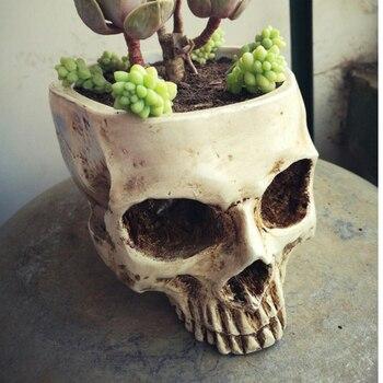 Diseño de cabeza de cráneo Artificial maceta contenedor réplica DIY casa Bar Escape habitación decoraciones regalos creativos regalos
