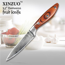 XINZUO 3.5 inch peeling knife Damascus steel kitchen knives utility Fruit paring Damascus knife color wood handle FREE SHIPPING