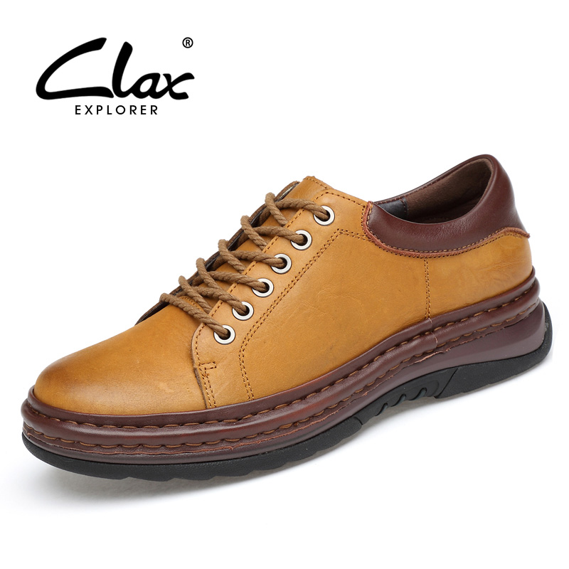 CLAX Men Shoe Genuine Leather Spring Autumn Men's leather shoes British Style Handmade Casual Footwear Derby Shoe Luxury Brand spring autumn new genuine leather men s casual shoes british style soft bottom man flats breathable lace up handmade sewing shoe
