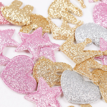 100pcs/bag Glitter Patches Crown Rabbit Heart Pattern Cute Patch Apparel Sewing Material Patches For Clothing Garment Decorative 1