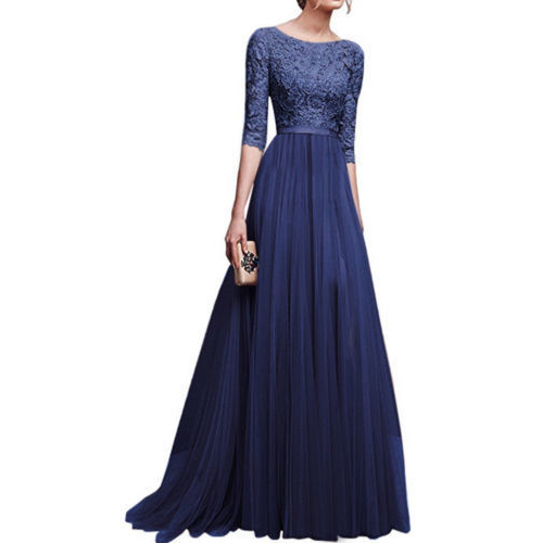 Evening     Dresses   Long 2018 CG00024 Women's Elegant A-Line Chiffon Three Quarter Sleeves Lace Appliques Formal Wedding Party Gowns