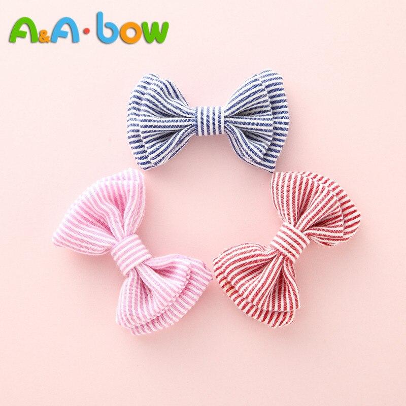 3PCS Strip Baby  Cotton Cloth Bow Hair Clips, Mini 5cm Bows Hair Accessories With Clip, Boutique Bow Hairpin Hair Ornaments