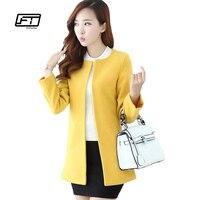 New 2015 Women OL Outwear Slim Wool Coat Ladies Long Blazer Autumn And Winter Windbreaker Female