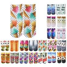 2017 NEW cute 3D Socks beauty short Women socks printed funny socks womens cotton sock white cat Multiple Colors for girls soks