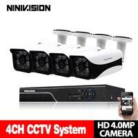 Супер 4CH AHD 4MP DVR 4x4 Мп IP66 в/наружного видеонаблюдения Системы комплект 4 канала видео Камеры скрытого видеонаблюдения 4MP безопасности Системы