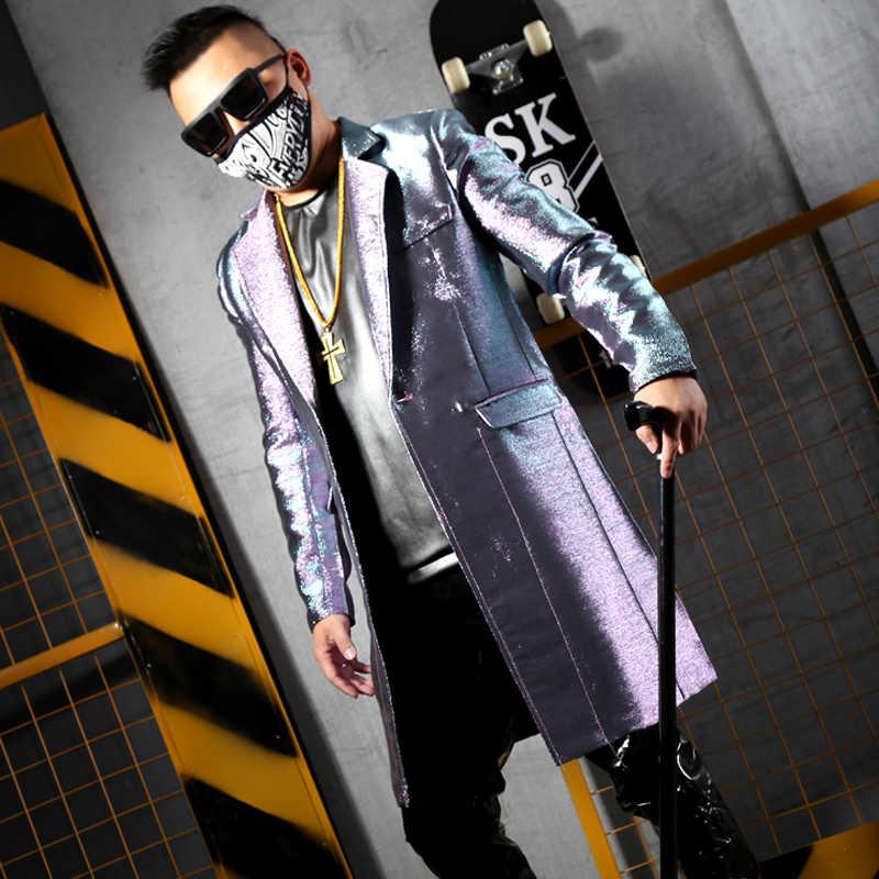 Custom Made Homens Moda Casual Casaco Longo Slim Fit Paletó Masculino Hip Hop Dancer Cantor Palco Traje Brilhante