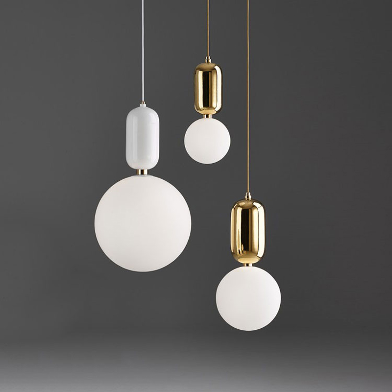 Nordic Milk White Glass Ball Pendant Light Bedside Hanging Lamp Gold Glass Suspension Pendant Lamp for Restaurant Bar Dia 15cm