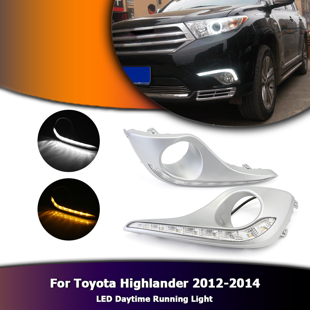 White Daylight For Toyota Highlander 12-14 Auto LED Daytime Running Lamp DRL With Yellow Turn Light D35 tcart 2x auto led light daytime running lights turn signals for toyota prius highlander for prado camry corolla t20 wy21w 7440
