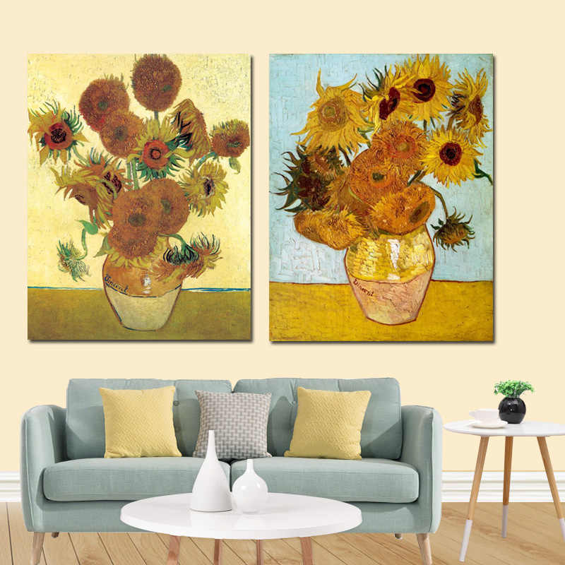 YWDECOR Vincent Van Gogh Golden Sunflower Poster Print  Floral Vase Oil Painting Canvas Art Modern Wall Picture for Living Room