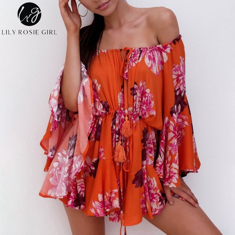 Image 5 - Lily Rosie Girl Off Shoulder Flare Sleeve Summer Playsuit Print Floral Boho Beach Playsuit Women Orange Short Jumpsuit RompersRompers   -