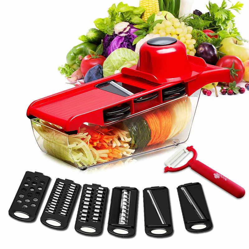 ใหม่เครื่องตัดผักกับใบมีดเหล็ก Mandoline Slicer Potato Peeler แครอทชีสผัก Slicer ครัวอุปกรณ์เสริม