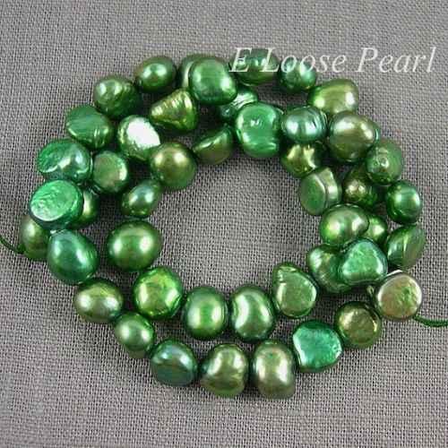 Venta mayorista, Perla de agua dulce barroca perla guijarro verde perla suelta 7,5-8,5mm 46 Uds