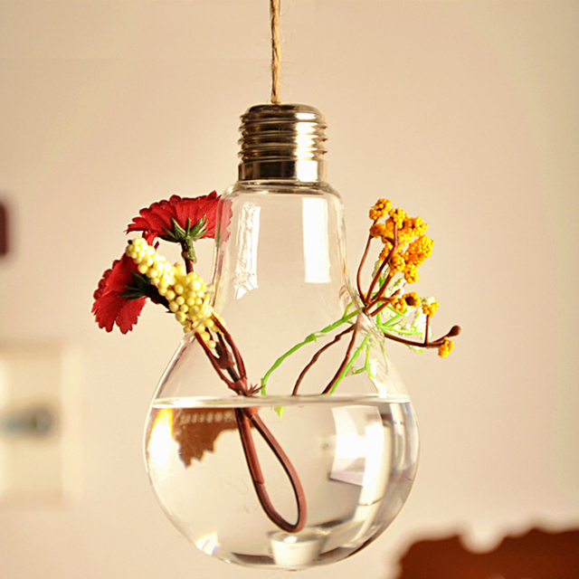 Aliexpress Buy Creative Bulb Shape Hanging Crystal Flower Vase