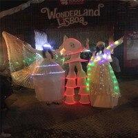 CC26 Ballroom dance led costumes robot Stilt suit white luminous light clown stage wears catwalk performance clothe bar dj dress