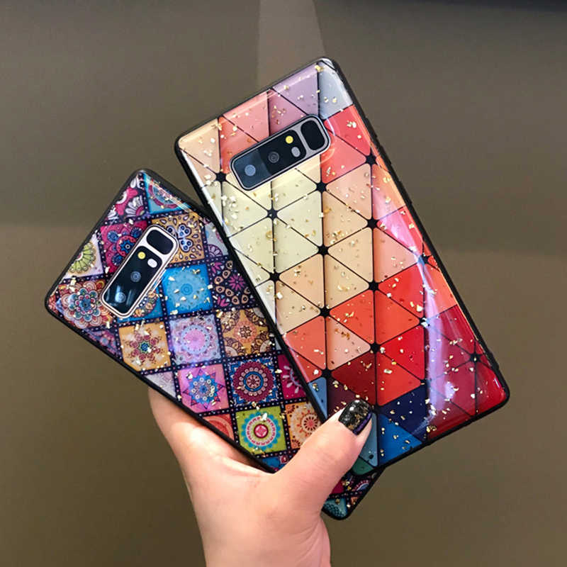 Multi-Color Grid Phone Case For Samsung Galaxy S10 S8 S9 Plus Bling Sequin Gold Foil Flower Epoxy Case For Samsung Note 9 8 10