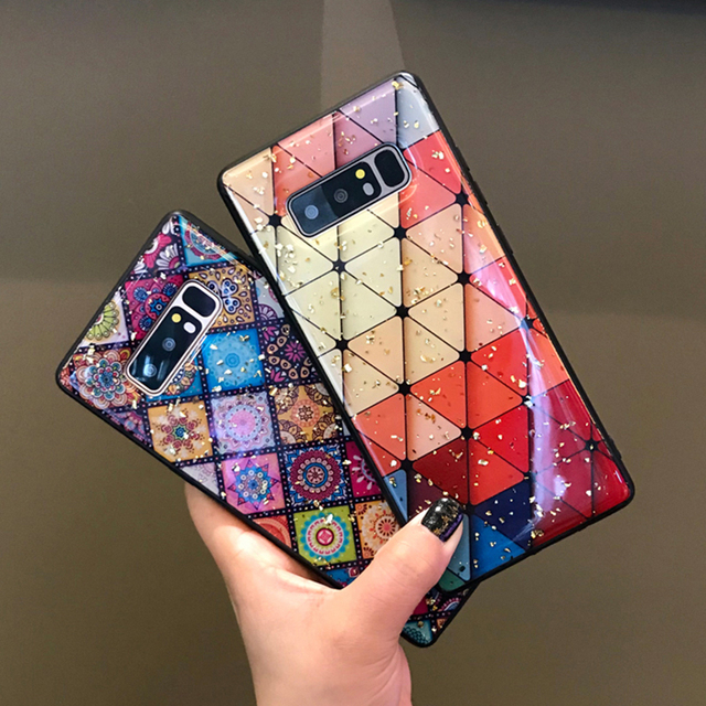 Multi-Color Grid Phone Case For Samsung Galaxy S10 S8 S9 Plus Bling Sequin Gold Foil Flower Soft Epoxy Case For Samsung Note 9 8