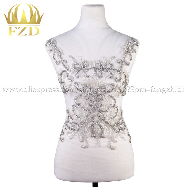 Hot sale Clear Crystal Stone Patches white beads for Wedding Dresses ... bf3804b4f64a