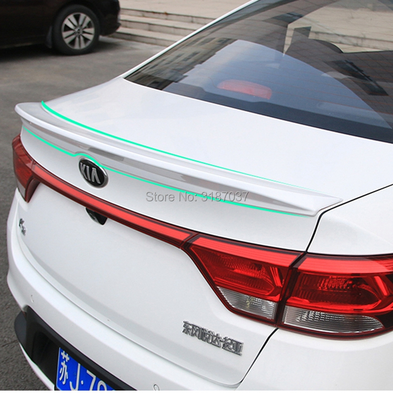 For Kia RIO K2 Spoiler 2017 2018 RIO K2 Lip ABS Plastic Unpainted Color Rear Roof Spoiler Wing Trunk Lip Boot Cover Car Styling