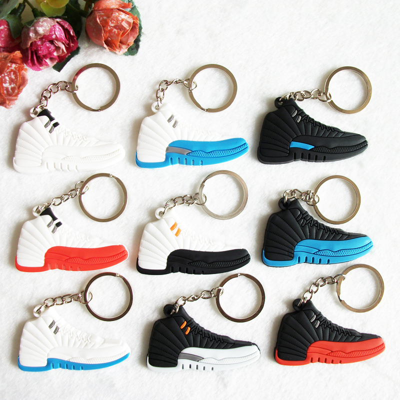 d49da2c3c6a22d Mini Silicone Jordan 12 Keychain Bag Charm Woman Men Kids Key Ring Gifts Sneaker  Key Holder