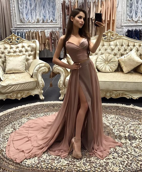 robe de soiree New   Prom     Dresses   2019 Sweetheart Off the Shoulder abendkleider A-Line Side Slit Chiffon Evening   Dresses