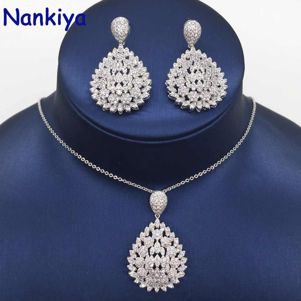 Nankiya Brilliant 2018 New Zirconia Pendant Earring Set Big Water Drop Shape Classic 2PCS Women Jewelry Set Factory Price NC681
