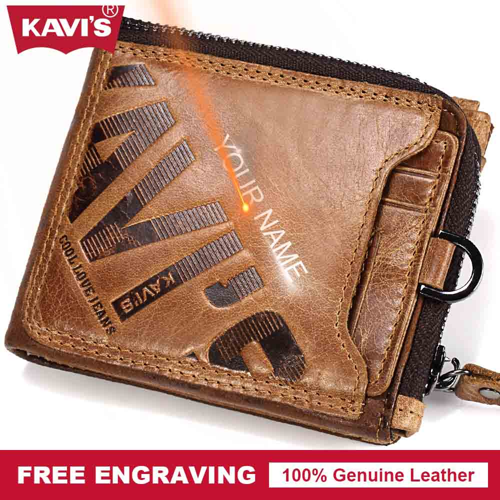KAVIS Crazy Horse Genuine Leather Wallet Men Walet Portomonee PORTFOLIO Magic Male Cuzdan Card Holder Perse Fashion Gidt For Man crazy horse leather billfolds wallet card holder leather card case for men 8056r 1