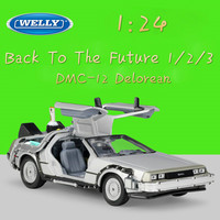 WELLY 1:24 Diecast Simulation Model Car DMC 12 Delorean Time Machine Back To The Future Cars Toys Metal Toy Cars Gift Collection