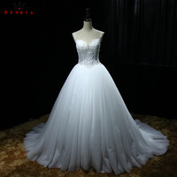 Ball Gown Sweetheart Backless Lace Pearls Beaded Long Elegant Wedding Dresses 2018 Real Photo Wedding Gown