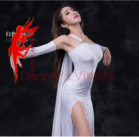 Women Performance Belly Dance Clothes Elegant Sleeveless Dress 2 Gloves Veil Underwear 5pcs Dance Dresses Comfortable