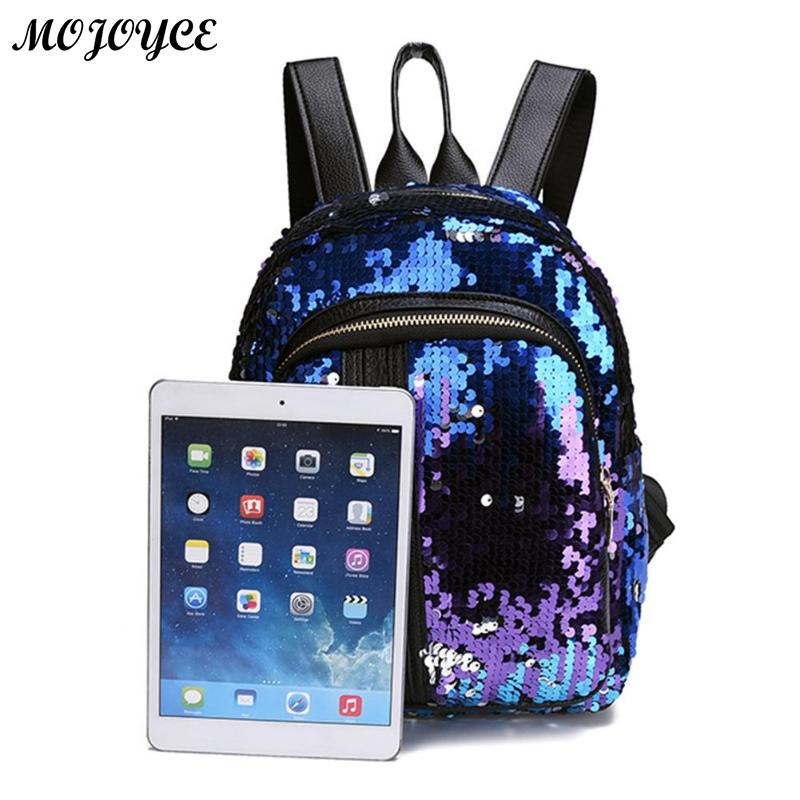 2pcs/1pc New Sequins Backpack New Teenage Girls Fashion Bling Rucksack Students School Bag With Pencil Case Clutch Mochilas #2