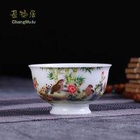 Changwuju в Jingdezheng чашки и блюдца кунг фу чайная посуда ручная роспись Jinhongxia цвет enamels чайная чаша для хоста использования