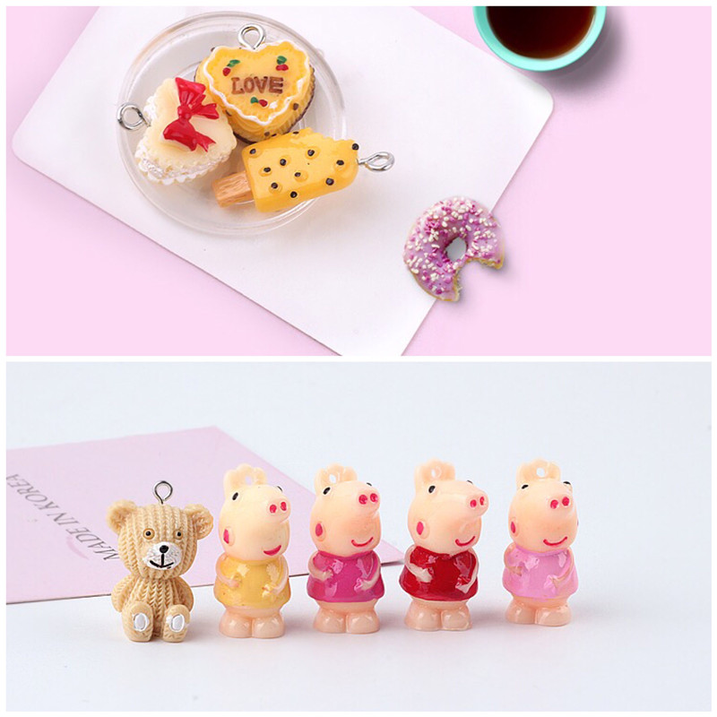 New Trendy 30pcs/lot Color Printing Animals Cartoon Bears/pig/hearts Cake Shape Resin Fashion Beads Charms Diy Key Chain Pendant