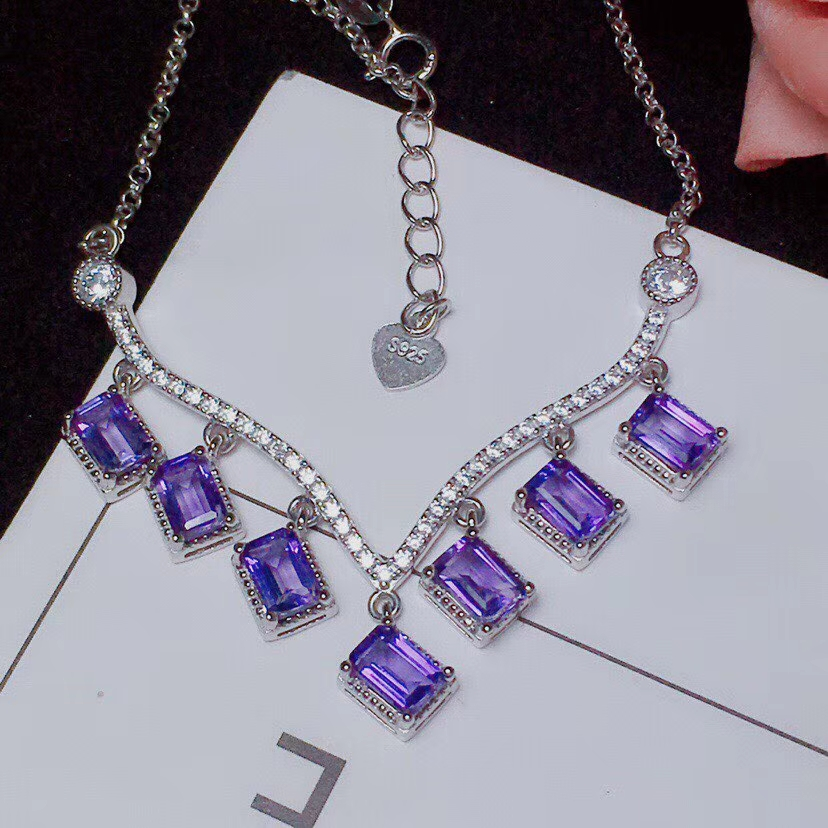 Natural amethyst Necklace natural purple crystal Pendant Necklace S925 silver trendy Tassel square women party gift JewelryNatural amethyst Necklace natural purple crystal Pendant Necklace S925 silver trendy Tassel square women party gift Jewelry