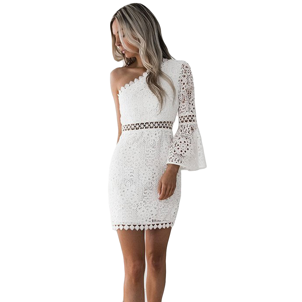 Sexy Women White Lace Dress New 2019 Summer One Shoulder Hollow Out Ladies Party Club Dresses Flare Sleeve Robe Vestidos Female semi formal summer dresses