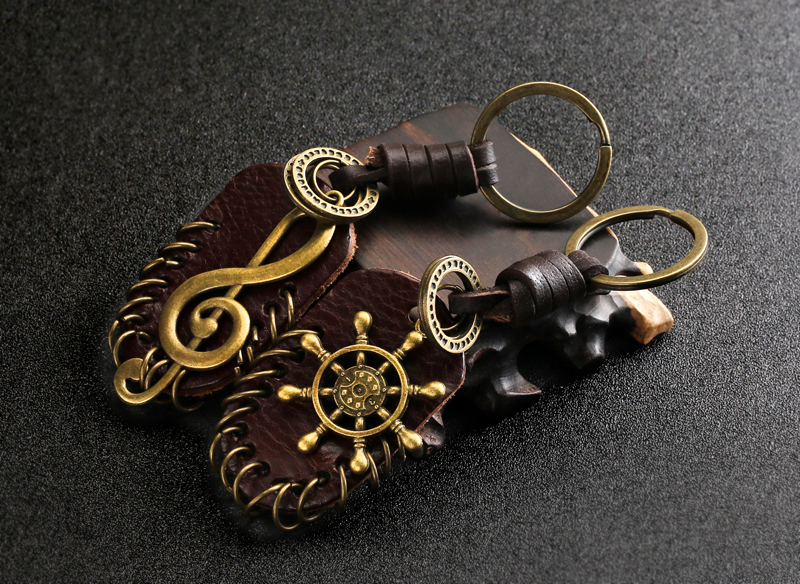 Schlüsselring mit Violinschlüssel Leder 1