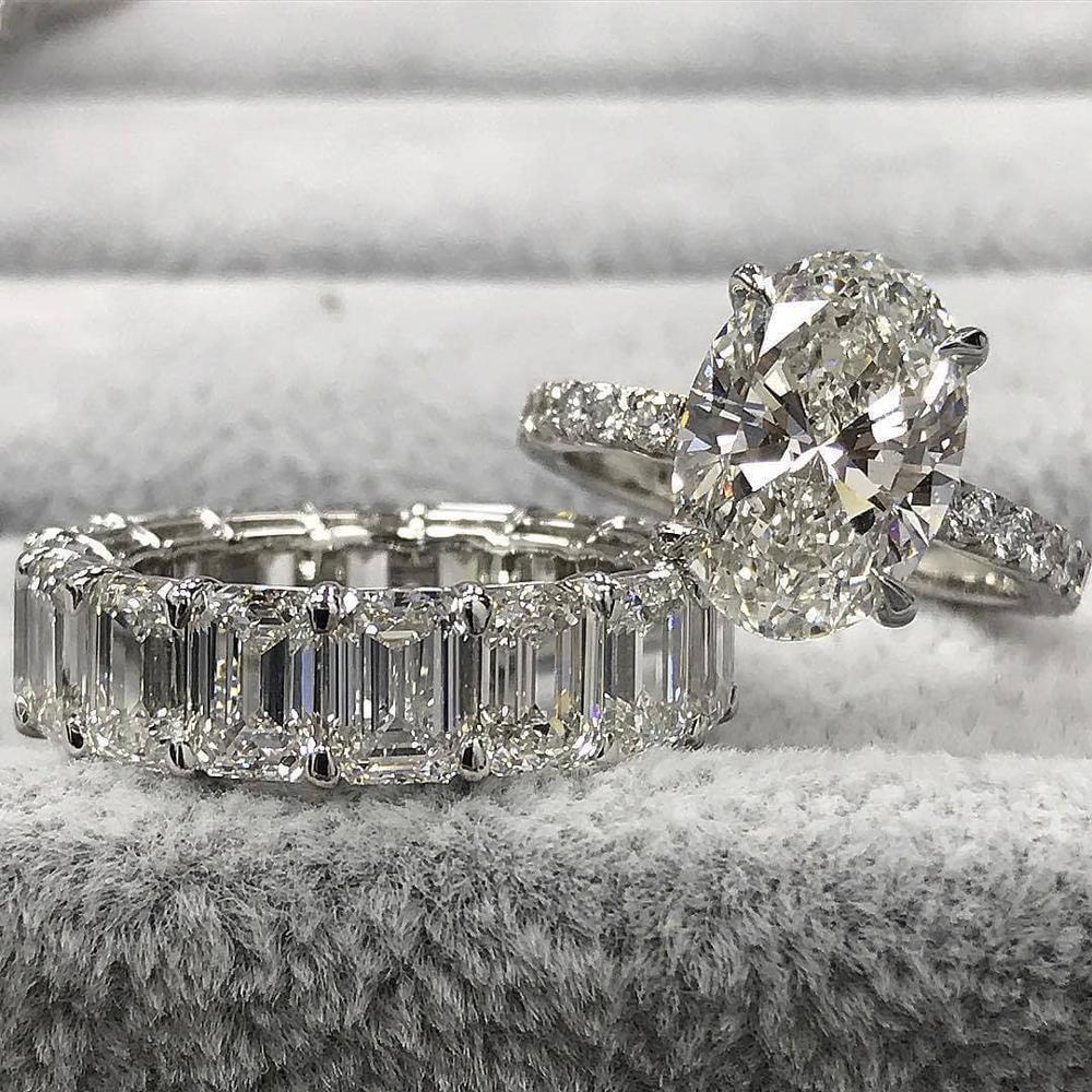 Moonso Real 925 bague de mariage ovale en argent Sterling pour femmes ensemble de fiançailles de luxe bande éternité bijoux zircone LR5239S