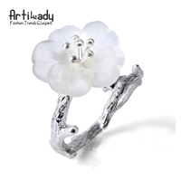 Artilady 925 Sterling Silver Rings Handmade Tree Branch Design White Crystal Ring For Women Party Gift