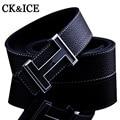 2016 letra H hebilla de los hombres cinturones de diseño de marca informal de alta calidad correa masculina de cuero Genuino ceinture homme PARA HOMBRE cinturones de lujo