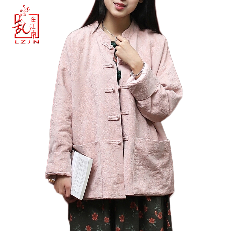 LZJN 2019 Women Stand Collar   Basic   Coat Long Sleeve Plus Size Cotton Linen Lightweight Chinese Tang Suit   Jacket   with Pockets