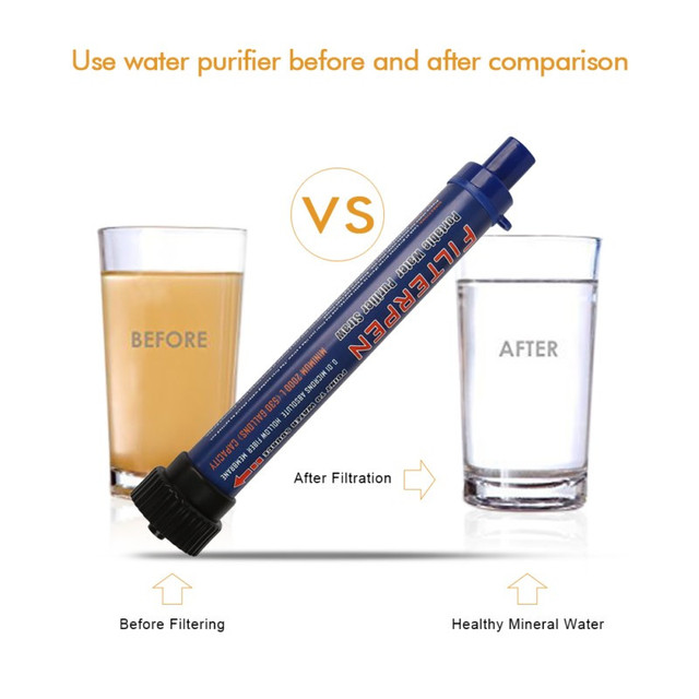 Portable Water Filter 02 Microns Purifier Straw Purifying Outdoor